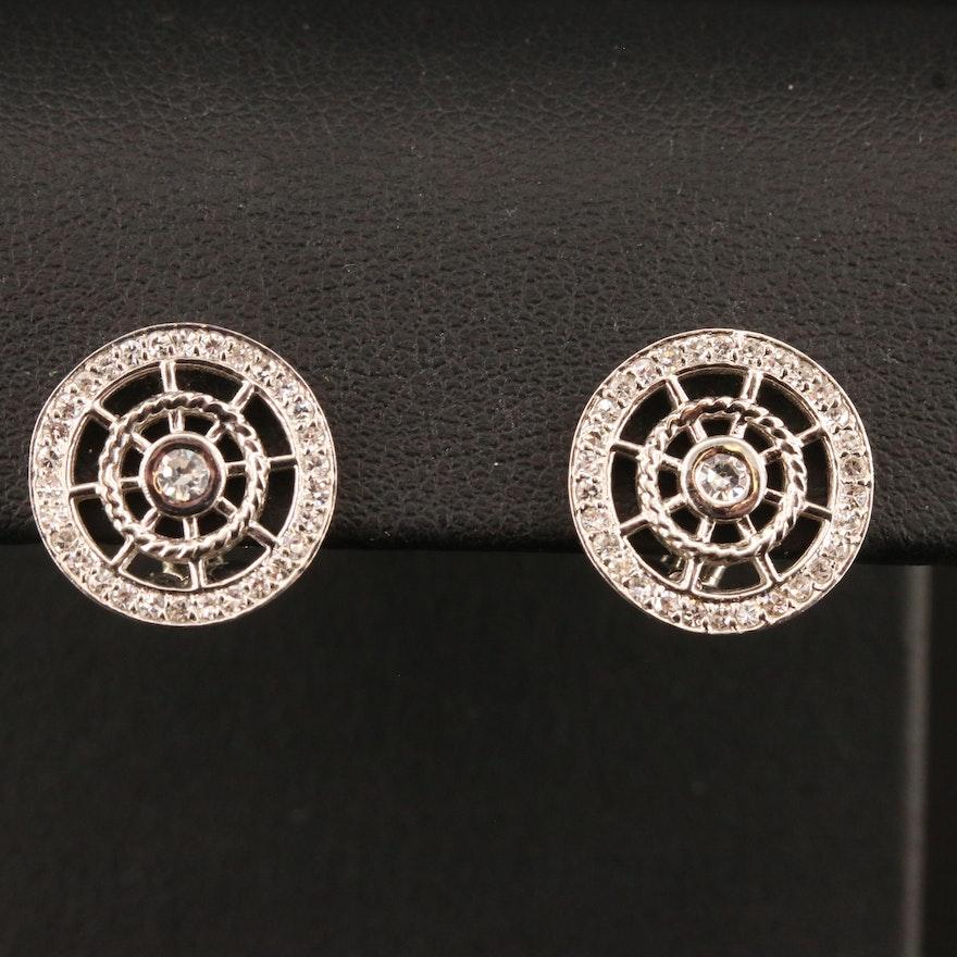 18K Diamond Spoked Wheel Motif Button Earrings