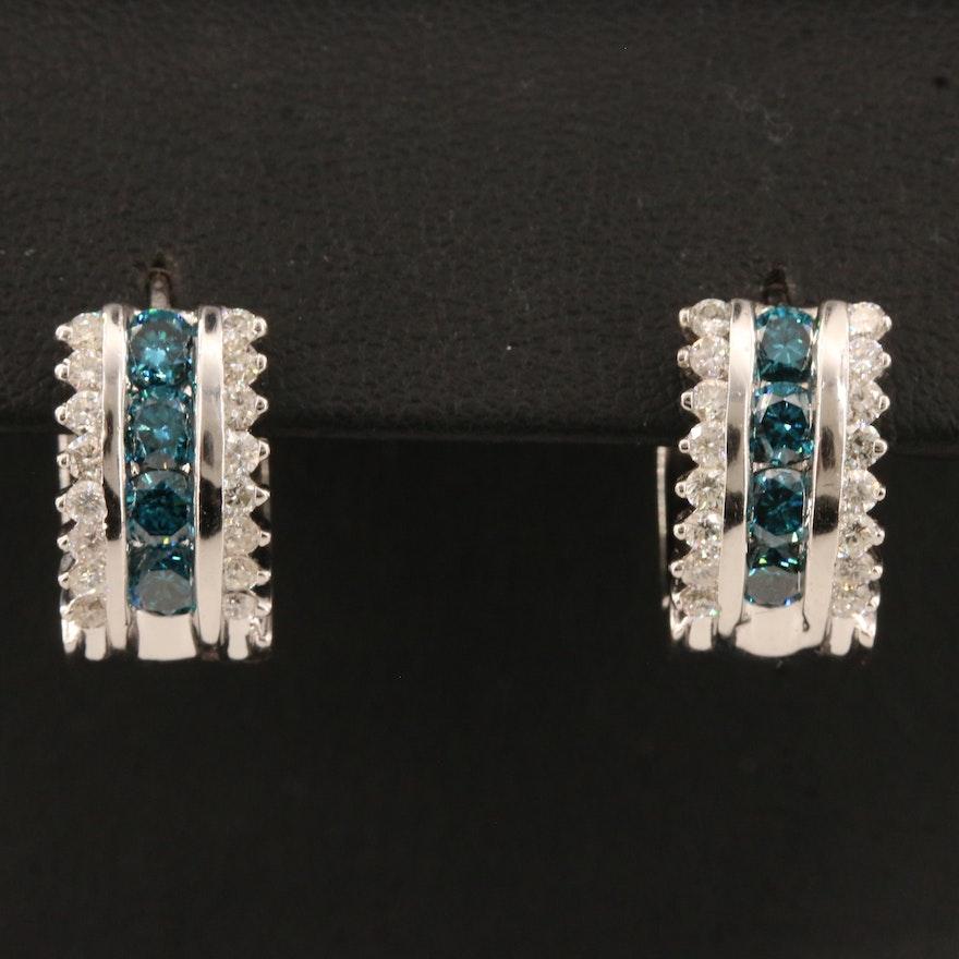 14K 2.00 CTW Diamond Huggie Hoop Earrings