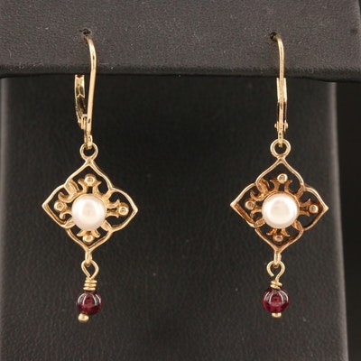 14K Pearl and Garnet Dangle Earrings with Openwork Detail