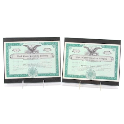 Shark Chaser Chemicals Company Blank Stock Certificates