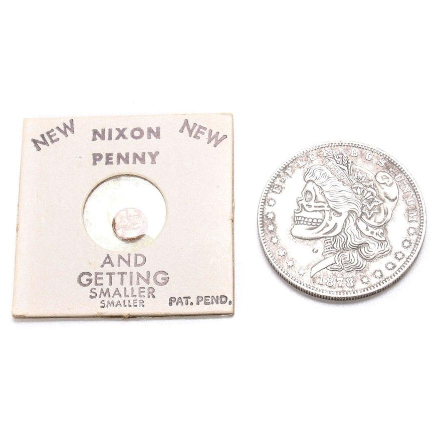 "Novelty ""Skeleton Dollar"" After 1878-CC Morgan and ""Nixon Penny"" Fantasy Coins"