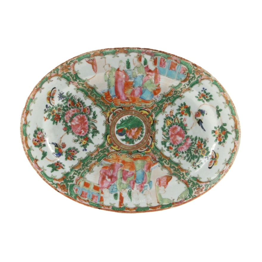 Chinese Export Rose Medallion Porcelain Dish, Mid to Late 19th Century