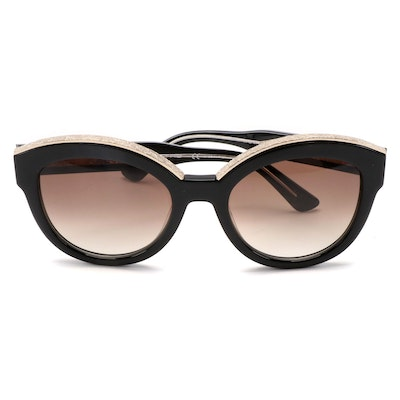 ETRO ET604S Black Sunglasses with Embossed Metal Accents and Case