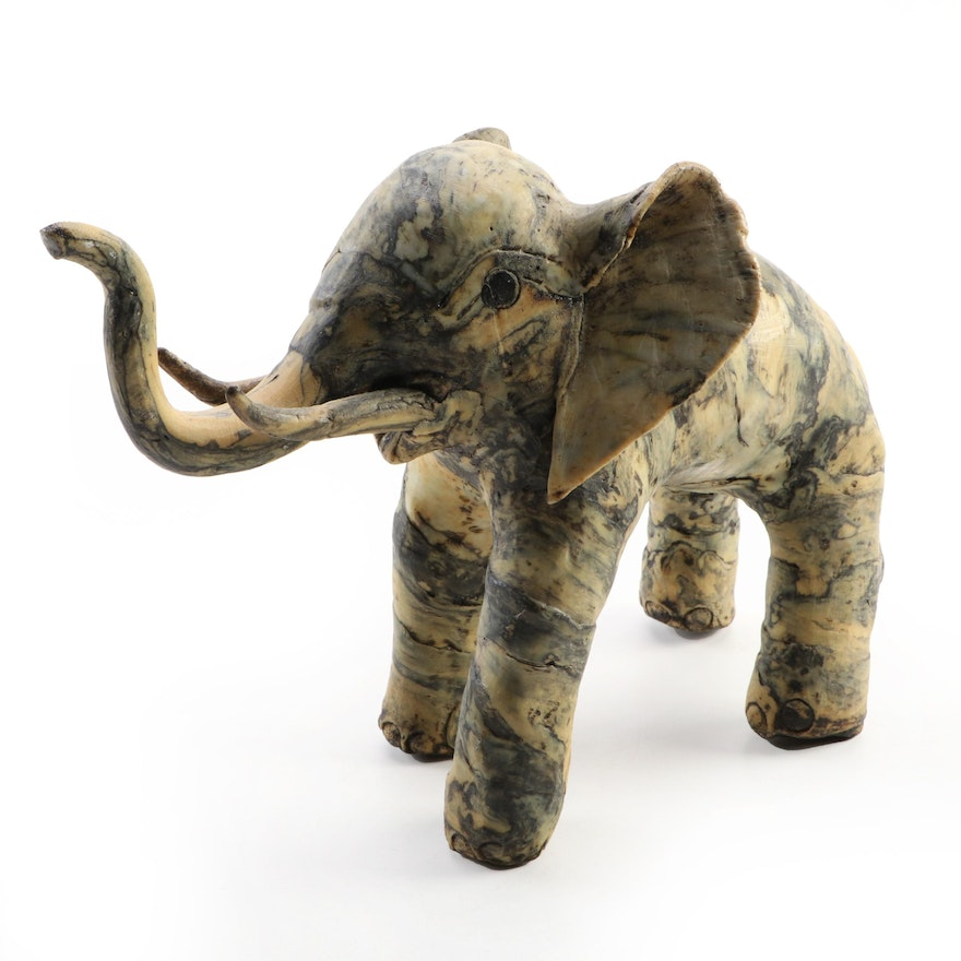 Molded Oyster Shell Elephant, Mid to Late 20th Century