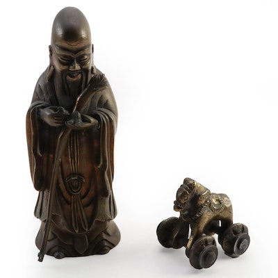 Brass Chinese Shouxing Figurine and Indian Horse Temple Toy, 20th Century