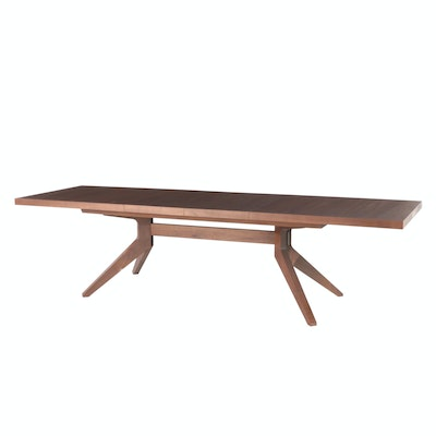 "Matthew Hilton for Case Walnut ""Cross Extension Table"" with Leaf Inserts"