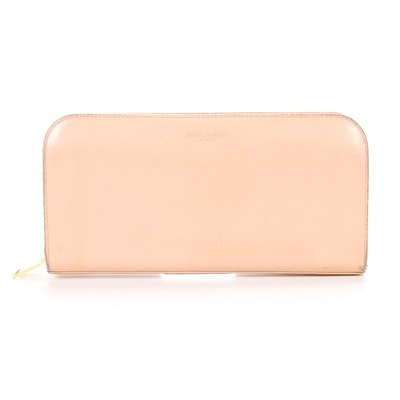 Saint Laurent Zip Wallet in Blush Leather