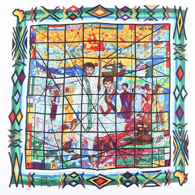 Printed Silk Scarf After Afewerk Tekle Stained Glass Triptych