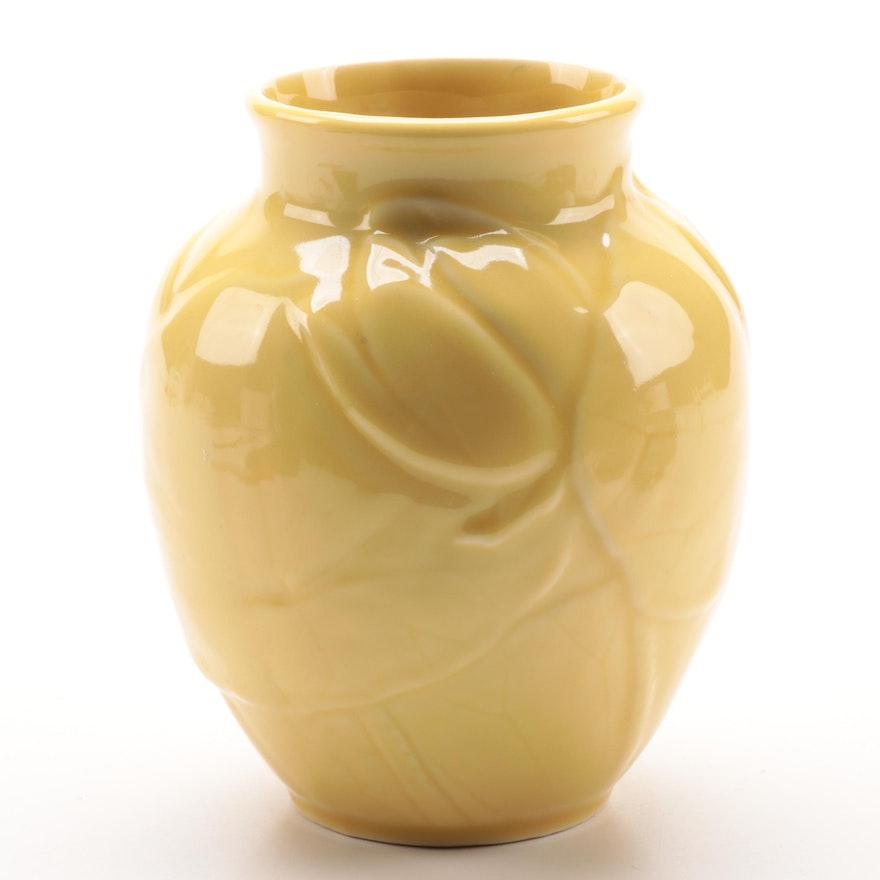 """Rookwood Pottery """"Magnolia"""" Yellow Glaze Ceramic Vase, 1949"""