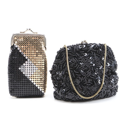 Beaded Purse and Enameled Metal Mesh Frame Cigarette Case with Kiss Lock Clasps