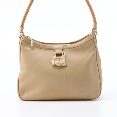 Kieselstein-Cord Alligator Buckle Hobo Bag in Beige Leather, 1990s