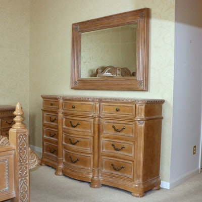 Bernhardt Blonde Wood Dresser and Wall Mirror