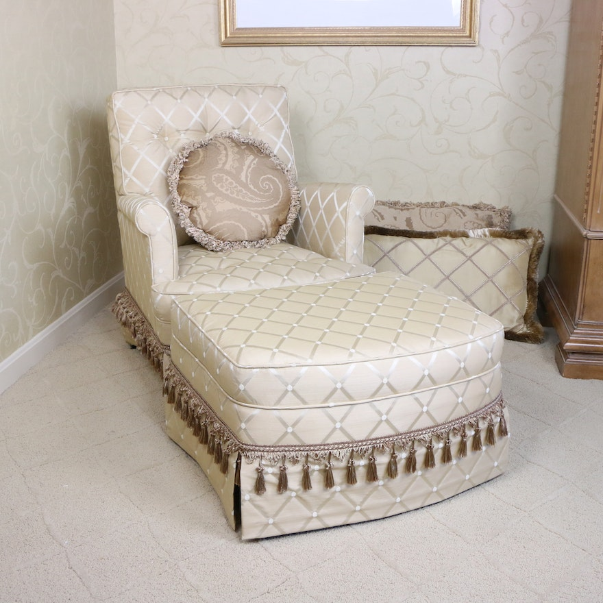 Upholstered Tufted Armchair with Ottoman, Late 20th Century