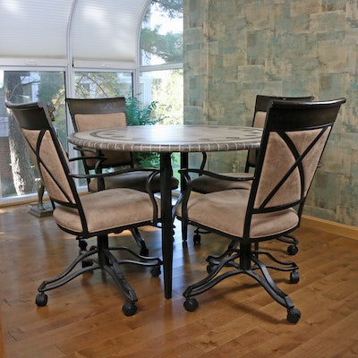 Minson Mosaic Tile Style Table with Four Metal Rolling Dining Armchairs