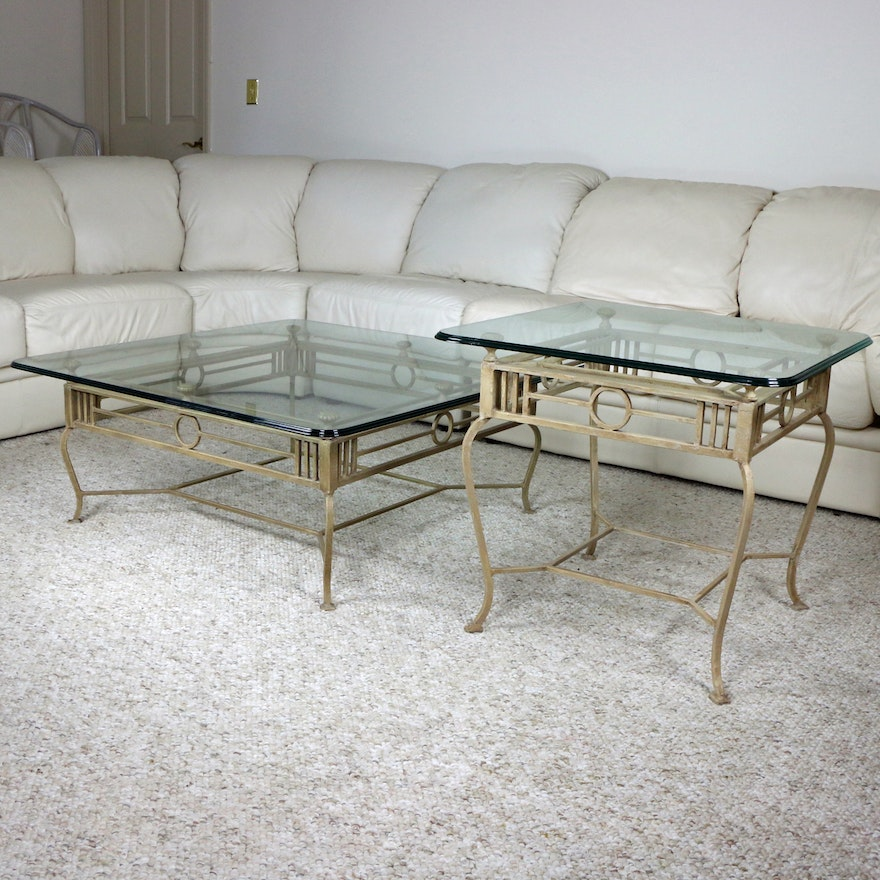 Regency Style Metal and Tempered Glass Coffee Table and Side Table