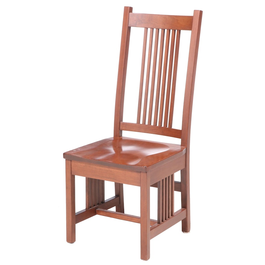 "Arts and Crafts Style Cherrywood Side Chair, Signed ""H. Miller"""