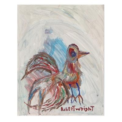 Robert Wright Folk Art Acrylic Painting of a Bird