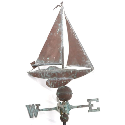 Patinated Copper Sloop Weathervane