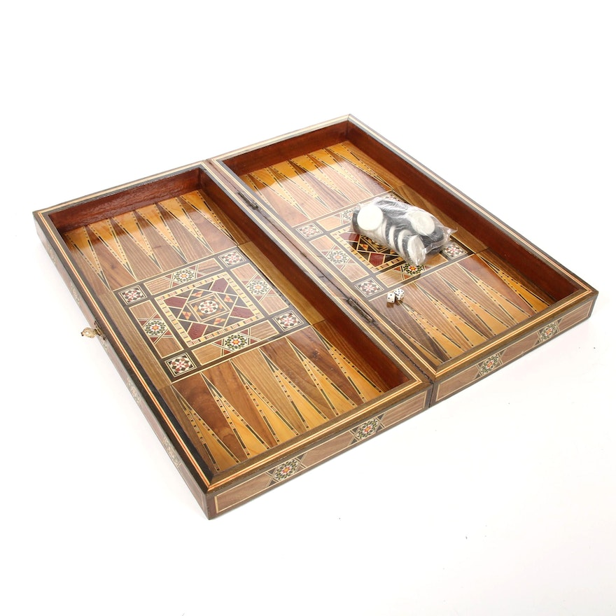 Middle Eastern or North African Wood and Bone Marquetry Backgammon Box