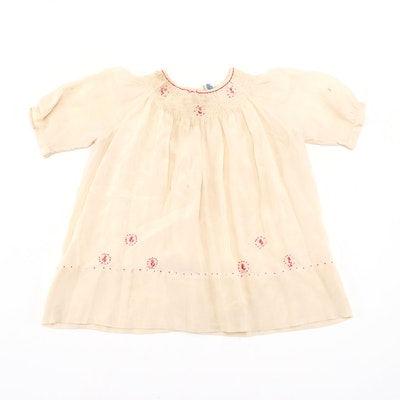 Girls' Nannette Ivory Smocked Dress with Red Hand-Stitched Details, Vintage