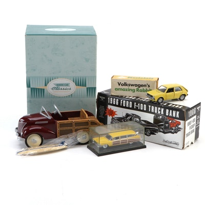 ERTL, Mattel, and Schuco Diecast Model Cars and Banks in Original Packaging