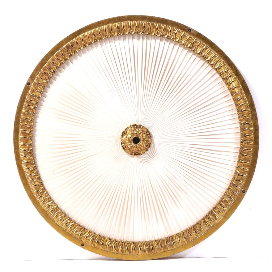 Giltwood Composite and Pleated Fabric Ceiling Medallion