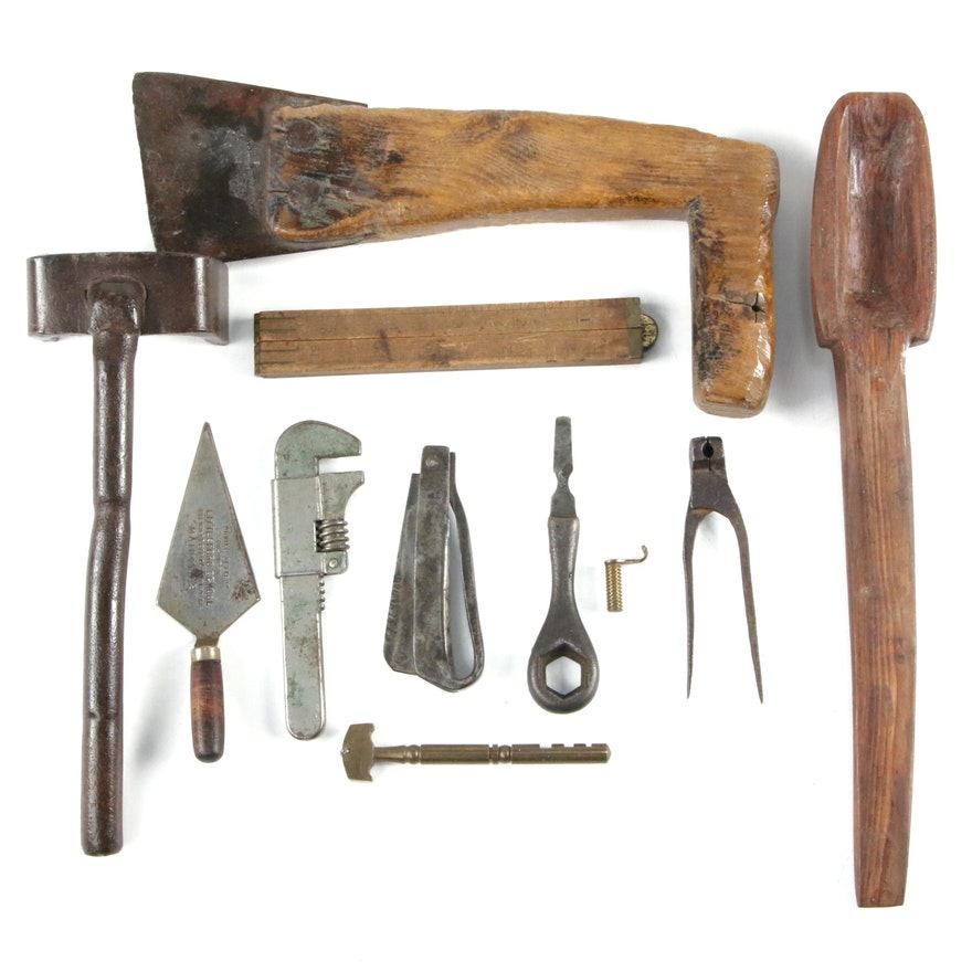 Hand Tools, Folding Knife, Wrench, Wooden Ladle, and More, Early 20th C.