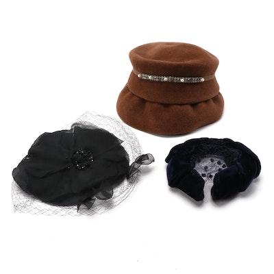 Mr. John Caprice Veiled Fascinator, Rosalyn Bucket Hat, Velvet Headband and Box