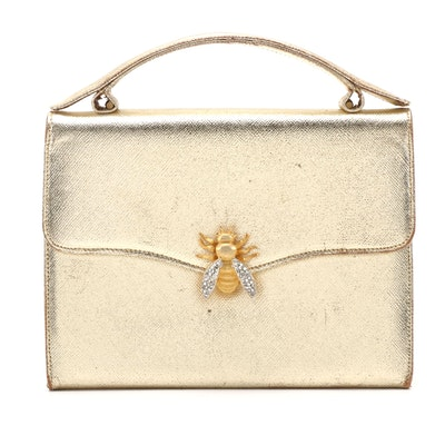 Morris Moskowitz Bee Embellished Gold Metallic Cross Grain Leather Bag, Vintage