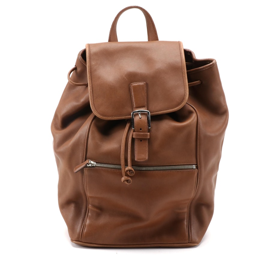 Coach 5408 Drawstring Buckle Flap Travel Backpack in Brown Leather
