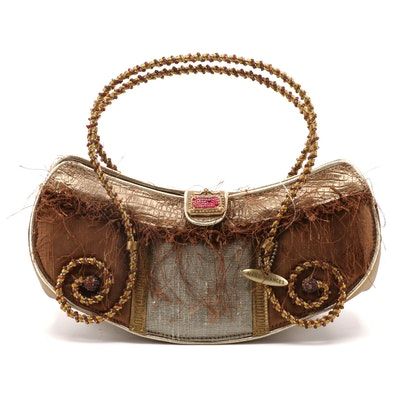 Mary Frances Beaded and Embellished Handbag with Scrolled Handles
