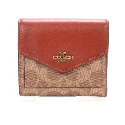 Coach New York Bifold Wallet in Signature Canvas and Leather
