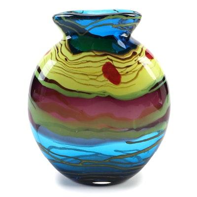 Clear Cased Blown Art Glass Vase