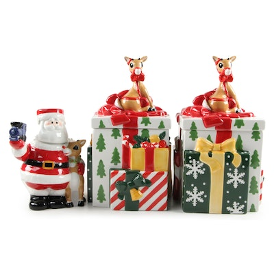 "Lenox ""Rudolph the Red-Nosed Reindeer"" Cookie Jars and Pitcher with Mug Lid"