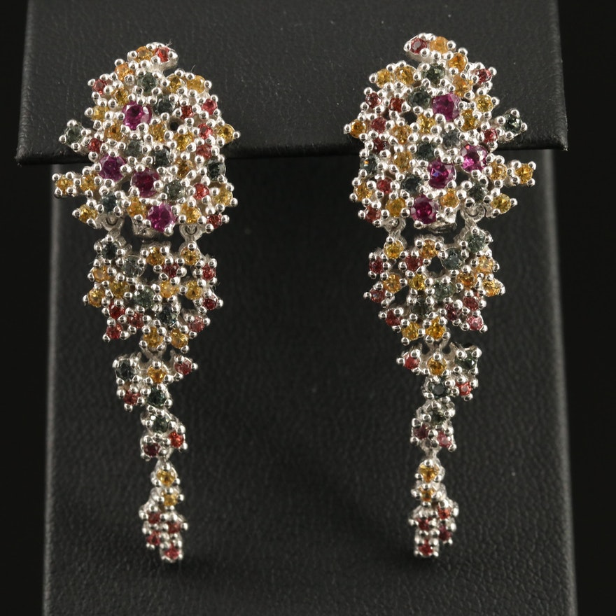 Sterling Silver Rhodolite Garnet and Sapphire Cluster Dangle Earrings