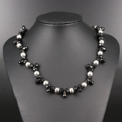 Daniel Espinosa Sterling Silver Black Onyx Bead Necklace