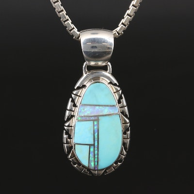 Sterling Turquoise and Opal Inlay Pendant Necklace