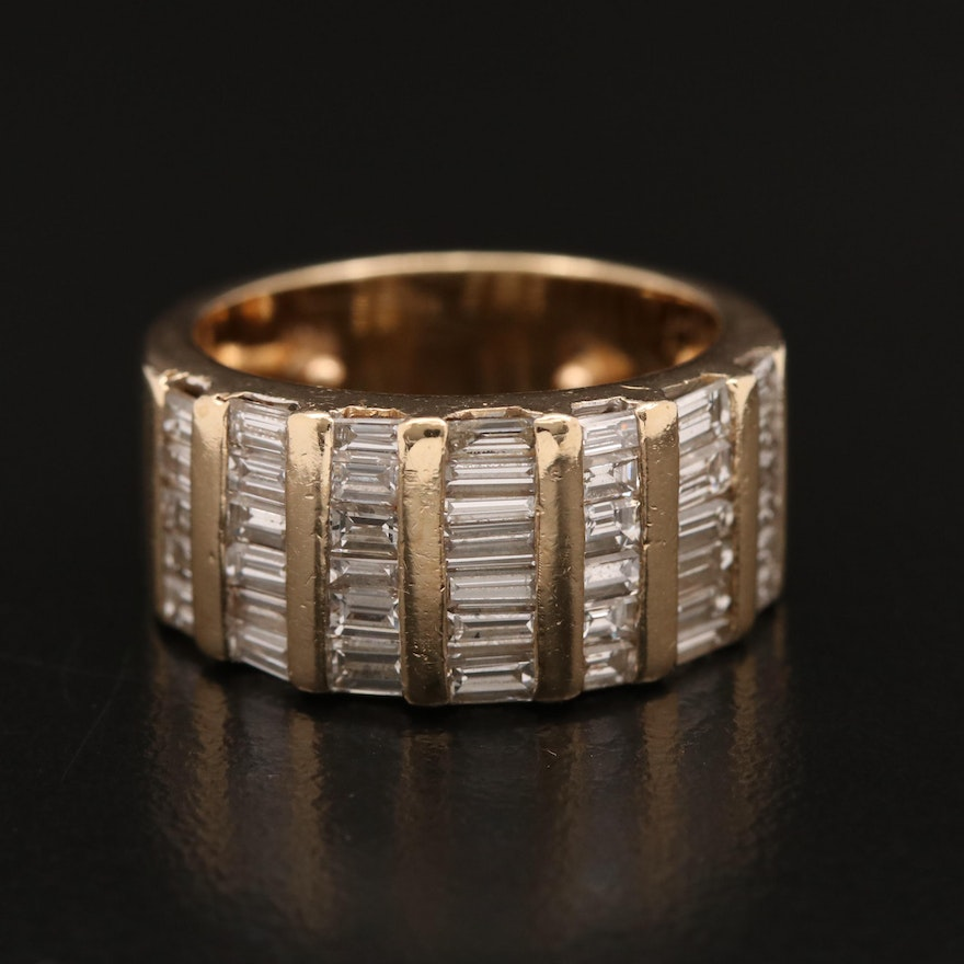 14K Channel Set 2.01 CTW Diamond Tapered Band