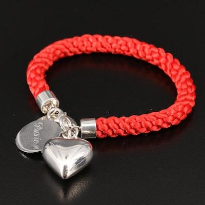 Daniel Espinosa Sterling Puff Heart Cord Bracelet