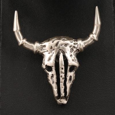Sterling Bull Skull Pendant