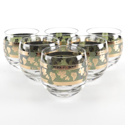 """Cera """"Golden Grapes"""" Roly Poly Glasses, Mid-20th Century"""