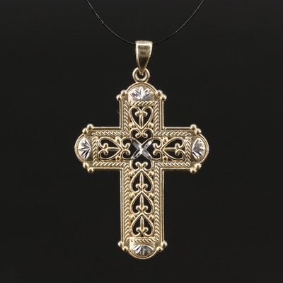 14K Gold Cross Pendant with Diamond Cut Accents
