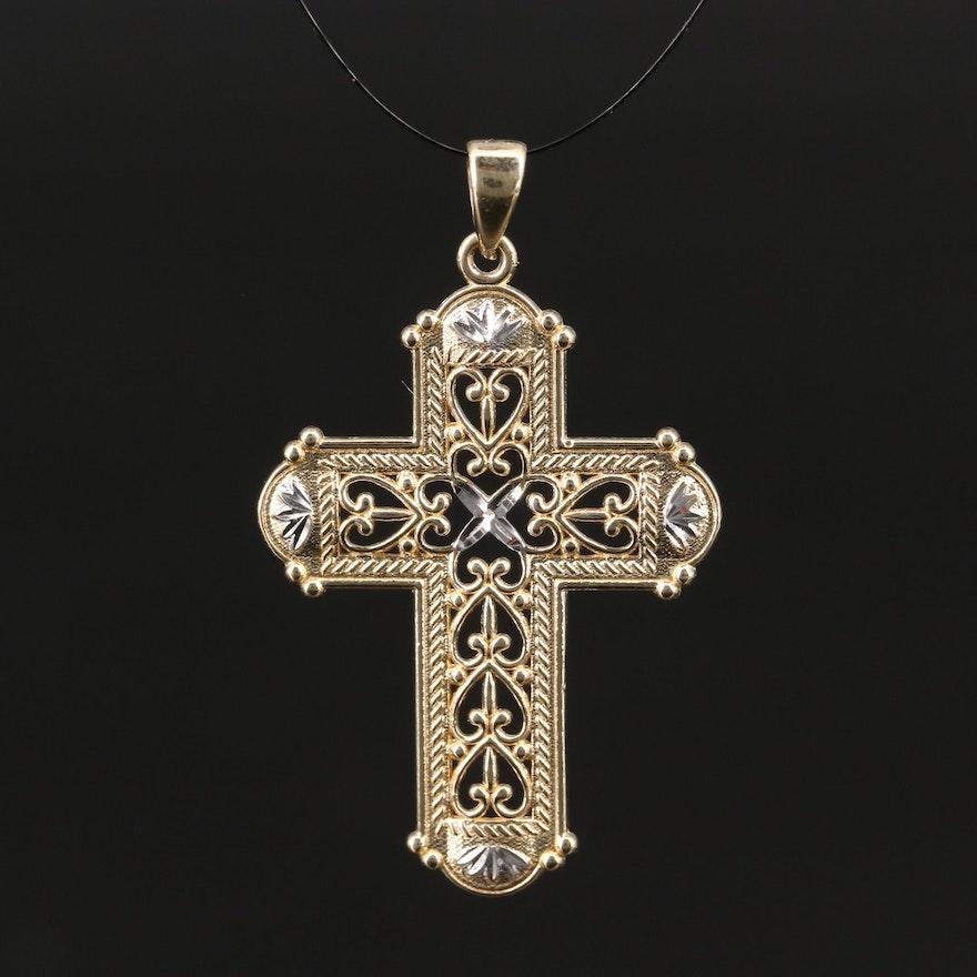 14K Gold Cross Pendant with Diamond Cut Accents