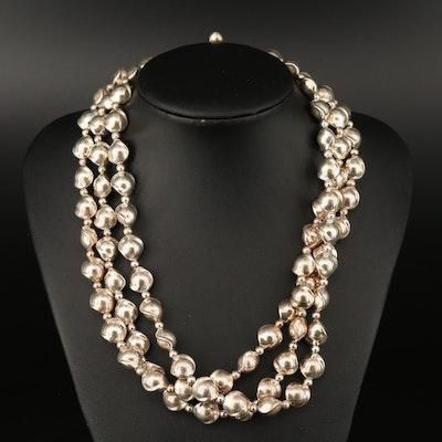 Robert Lee Morris Sterling Triple Strand Beaded Necklace