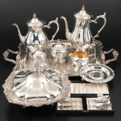 Wm. Rogers Silver Plate Tea Service with Other Serveware and Utensils