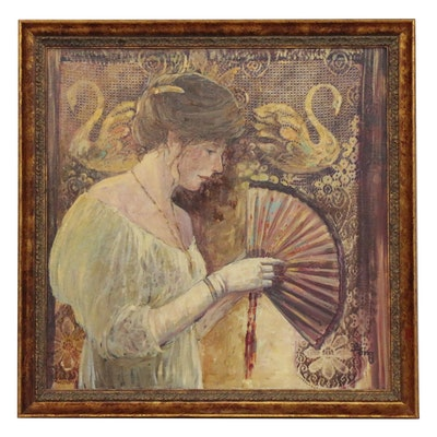 Irene Borg Oil Painting Lady with Fan, Late 20th Century