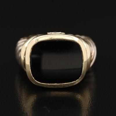 David Yurman 14K and Sterling Silver Black Onyx Signet Ring