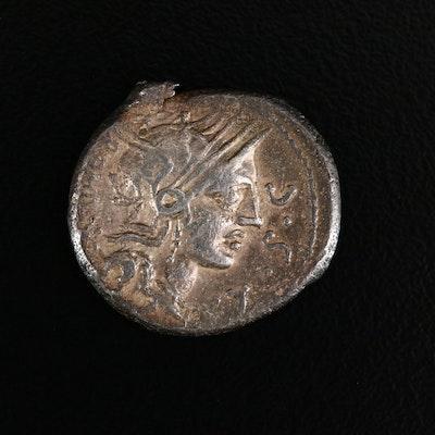 Ancient Roman Republic AR Denarius of M. Sergius Silus, ca. 109 B.C.