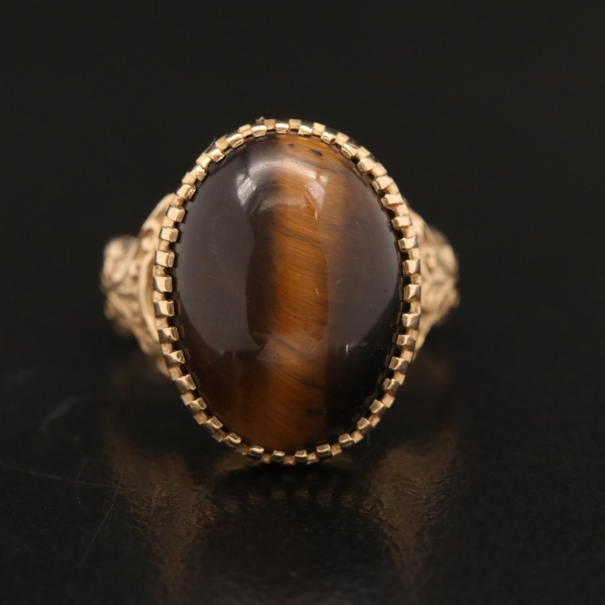 Vintage 14K Tiger's Eye Ring