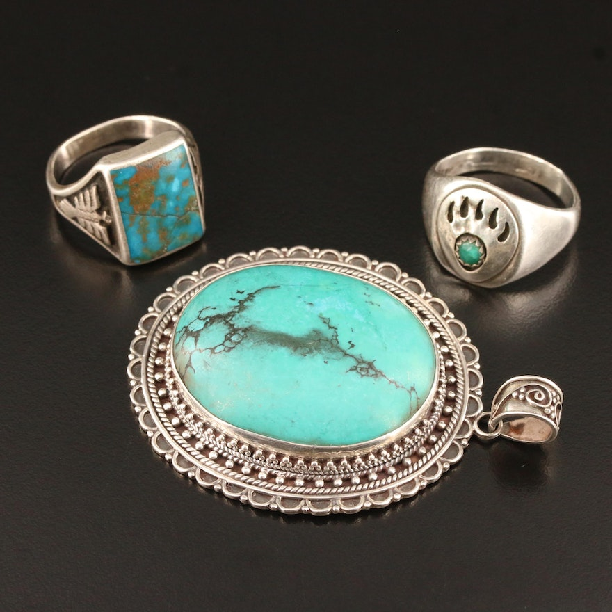 Southwestern Sterling Silver Jewelry Featuring Thunderbird and Bear Paw Motifs